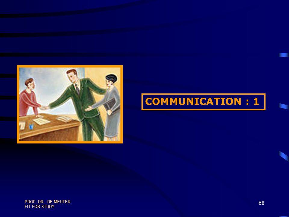 COMMUNICATION : 1 PROF. DR. DE MEUTER FIT FOR STUDY