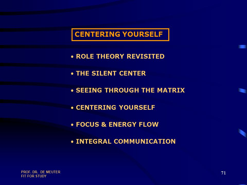 CENTERING YOURSELF ROLE THEORY REVISITED THE SILENT CENTER