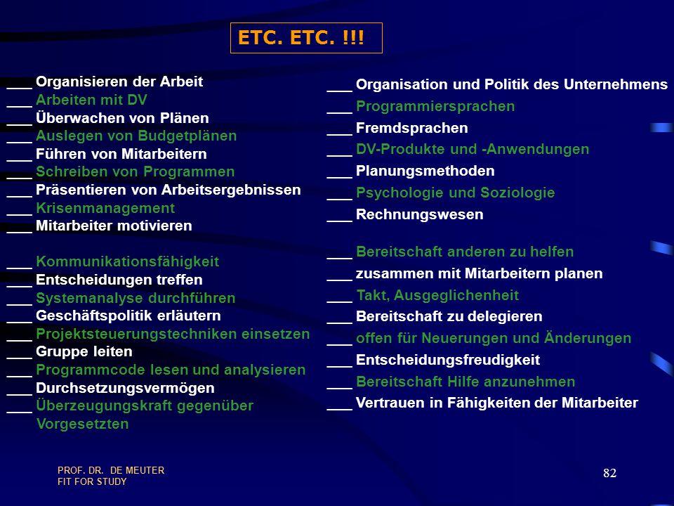 ETC. ETC. !!! ___ Organisieren der Arbeit ___ Arbeiten mit DV