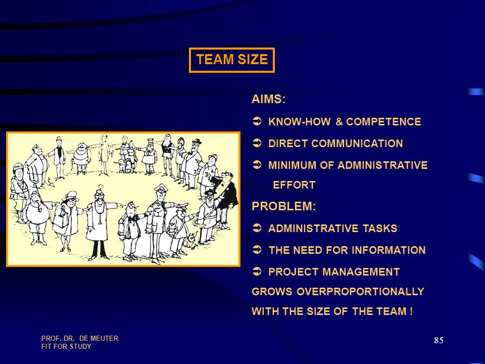 TEAM SIZE AIMS: Ü KNOW-HOW & COMPETENCE Ü DIRECT COMMUNICATION