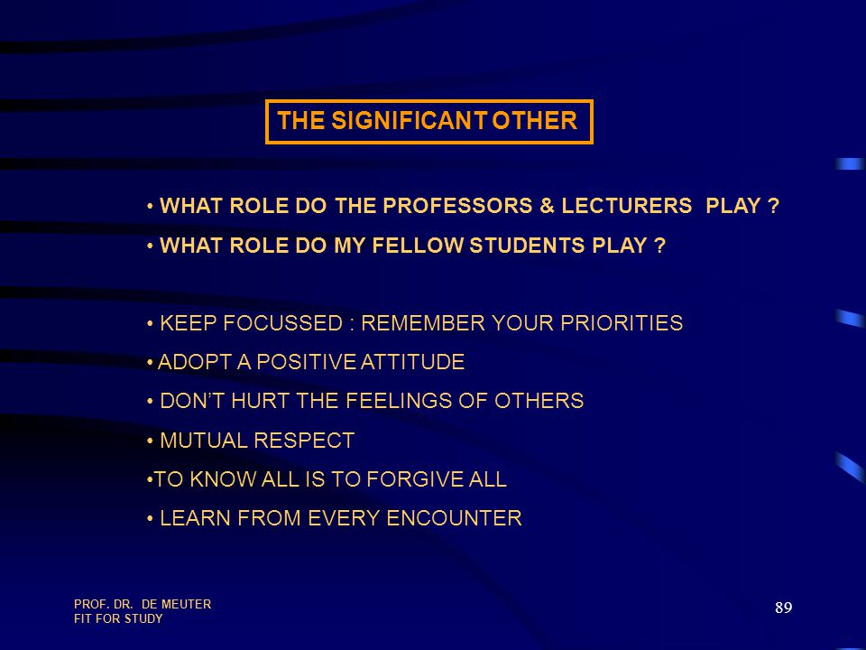 THE SIGNIFICANT OTHER WHAT ROLE DO THE PROFESSORS & LECTURERS PLAY