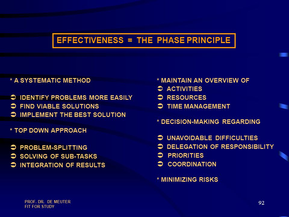 EFFECTIVENESS = THE PHASE PRINCIPLE