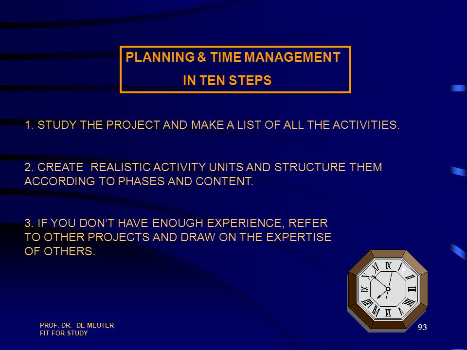 PLANNING & TIME MANAGEMENT IN TEN STEPS