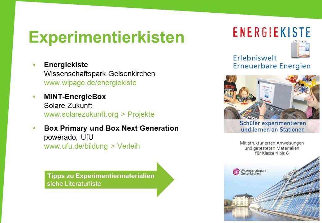 Experimentierkisten Energiekiste Wissenschaftspark Gelsenkirchen www.wipage.de/energiekiste.