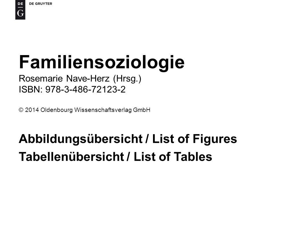 Familiensoziologie Abbildungsübersicht / List of Figures
