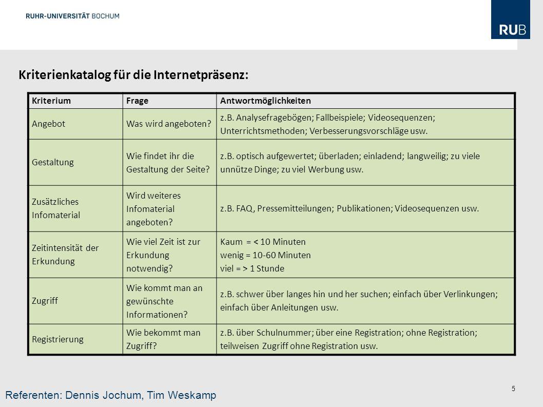 Kriterienkatalog für die Internetpräsenz: