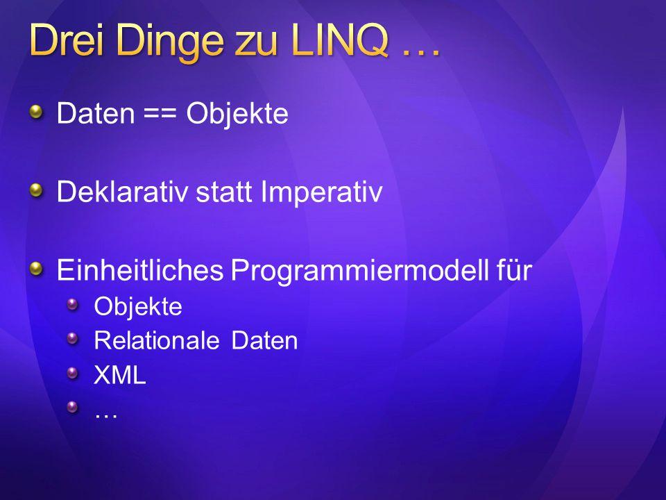 Drei Dinge zu LINQ … Daten == Objekte Deklarativ statt Imperativ