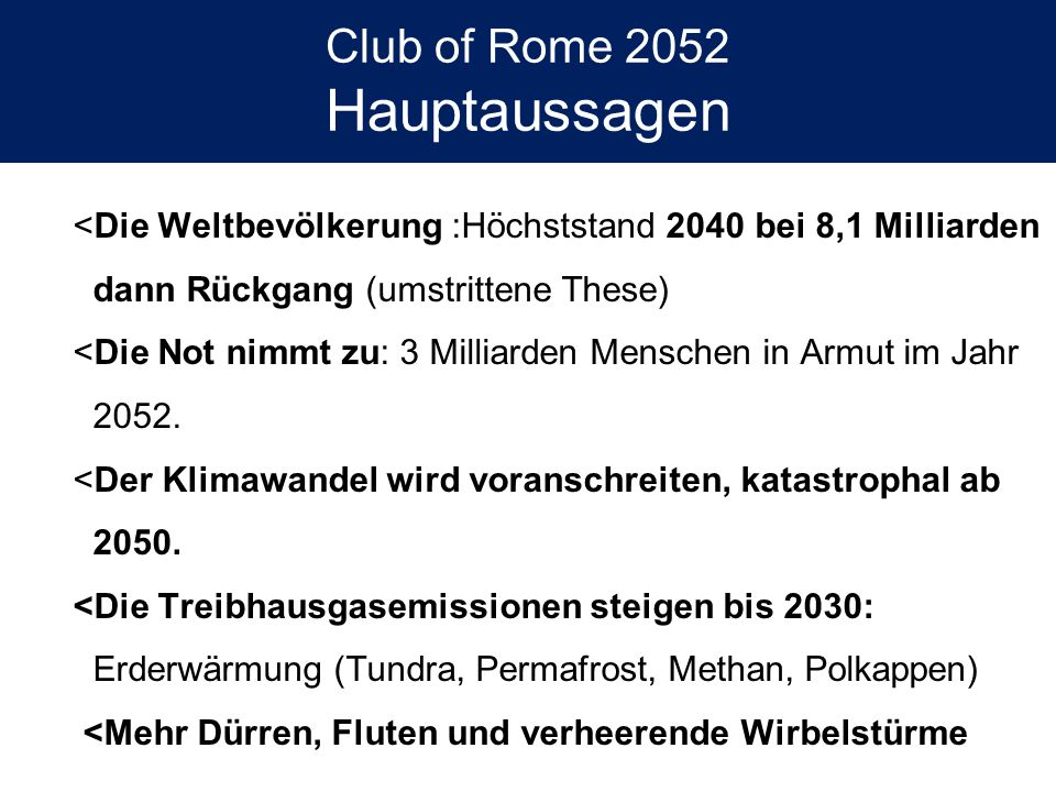 Club of Rome 2052 Hauptaussagen