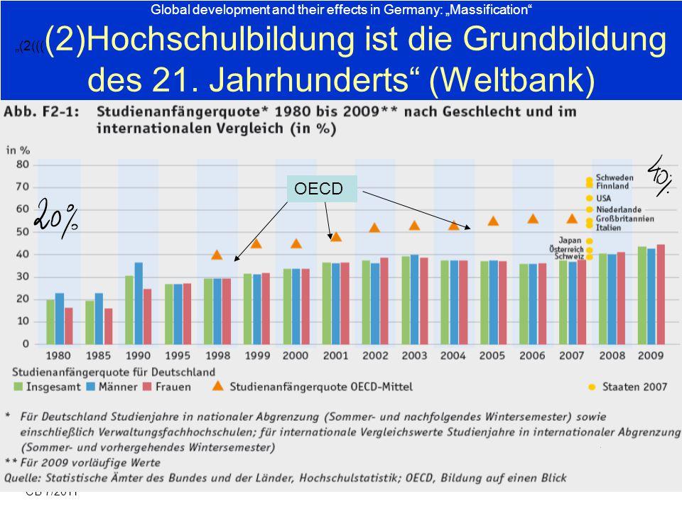 """Global development and their effects in Germany: """"Massification """"(2((((2)Hochschulbildung ist die Grundbildung des 21. Jahrhunderts (Weltbank)"""