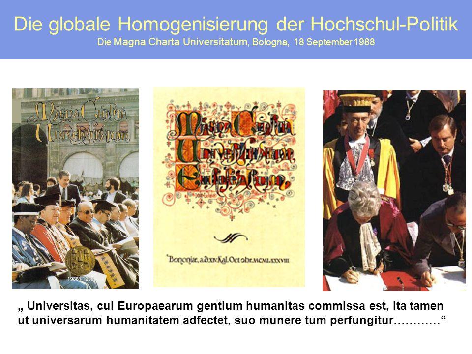 Die globale Homogenisierung der Hochschul-Politik Die Magna Charta Universitatum, Bologna, 18 September 1988