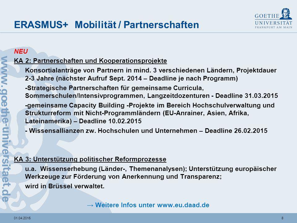 ERASMUS + Herausforderungen für GU bei KA 1