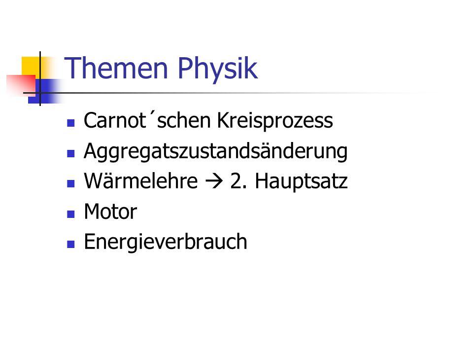 Themen Physik Carnot´schen Kreisprozess Aggregatszustandsänderung