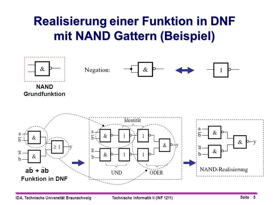 Realisierung einer Funktion in DNF mit NAND Gattern (Beispiel)