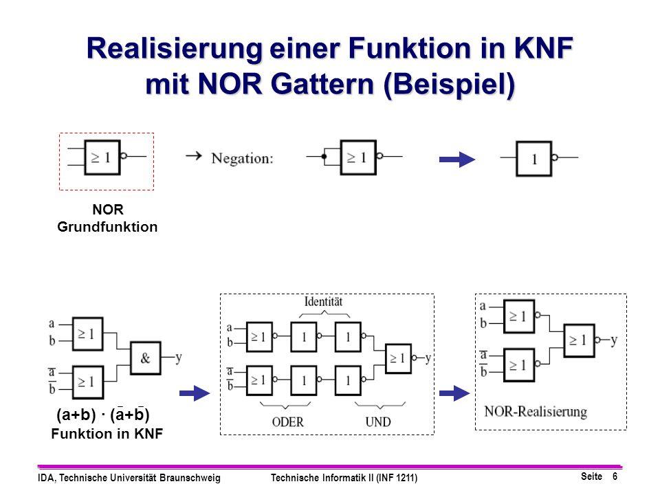 Realisierung einer Funktion in KNF mit NOR Gattern (Beispiel)