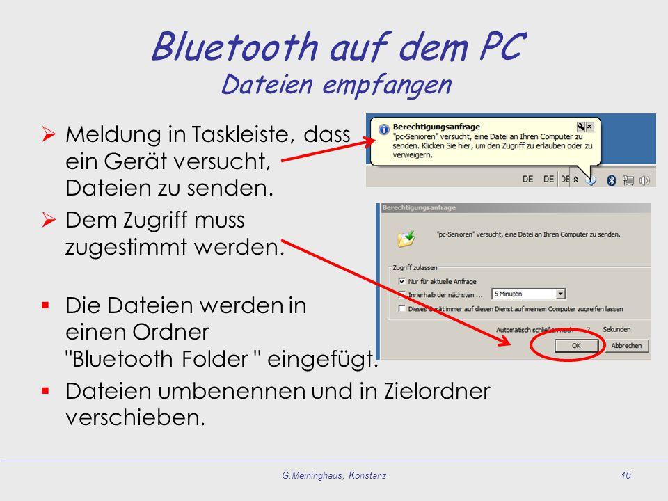 Bluetooth auf dem PC Dateien empfangen