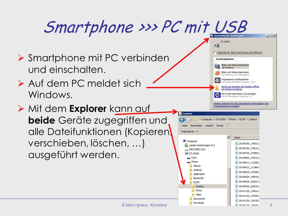 Smartphone >>> PC mit USB