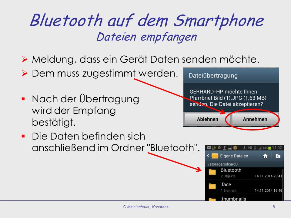 Bluetooth auf dem Smartphone Dateien empfangen
