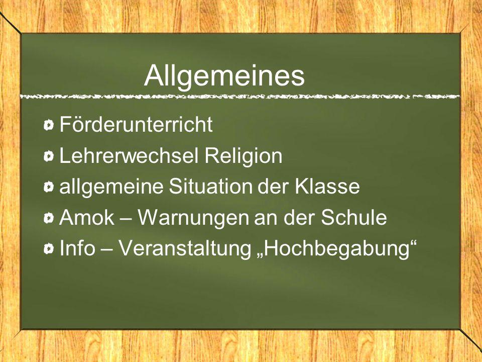 Allgemeines Förderunterricht Lehrerwechsel Religion