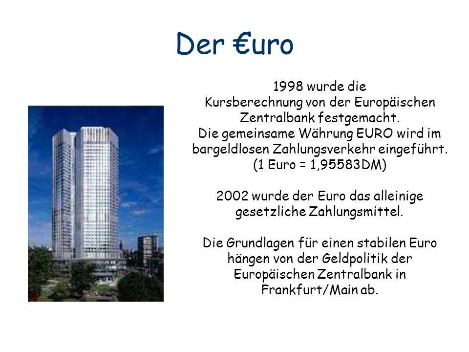 Der €uro 1998 wurde die. Kursberechnung von der Europäischen Zentralbank festgemacht. Die gemeinsame Währung EURO wird im.