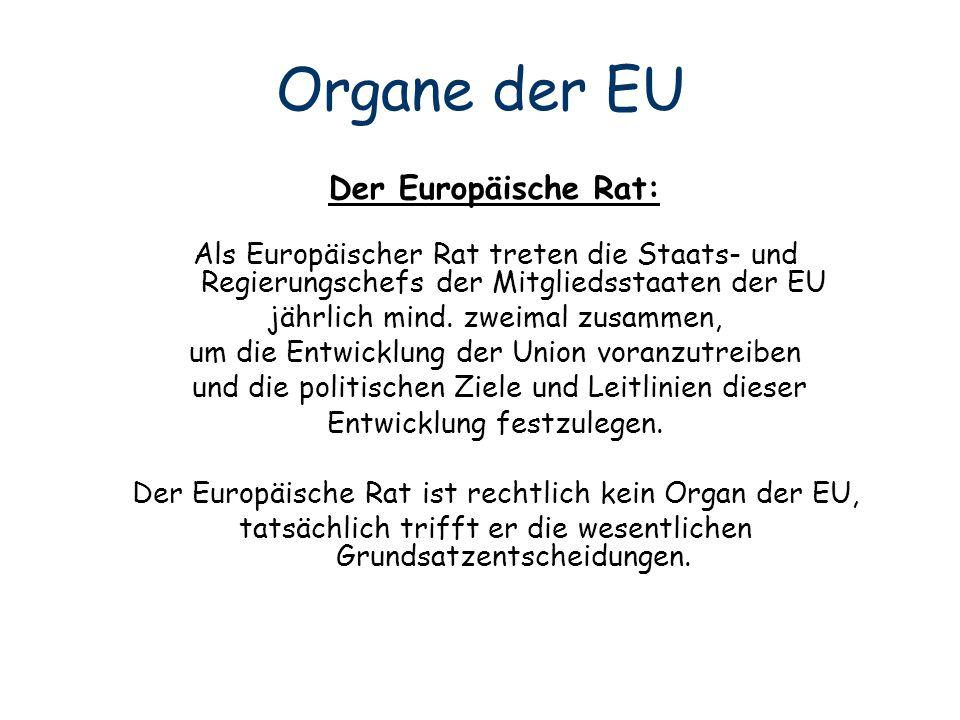 Organe der EU Der Europäische Rat:
