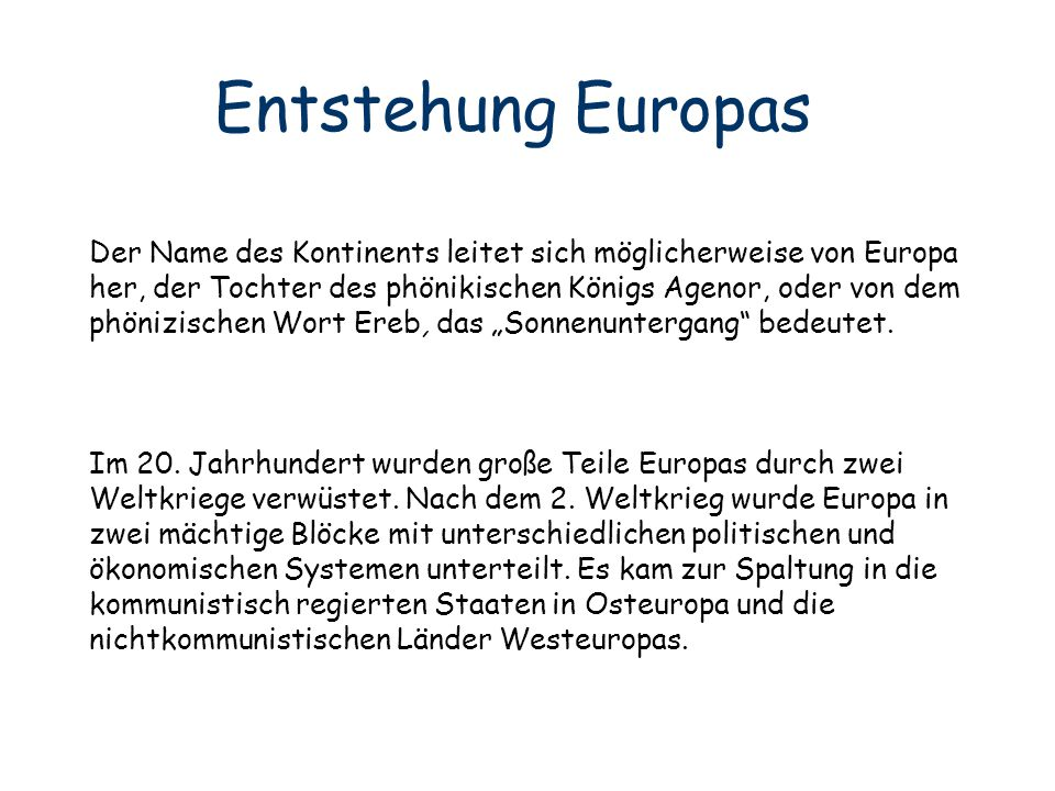 Entstehung Europas