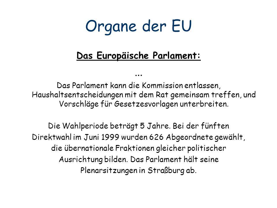Organe der EU … Das Europäische Parlament: