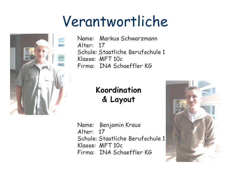 Verantwortliche Koordination & Layout Name: Markus Schwarzmann