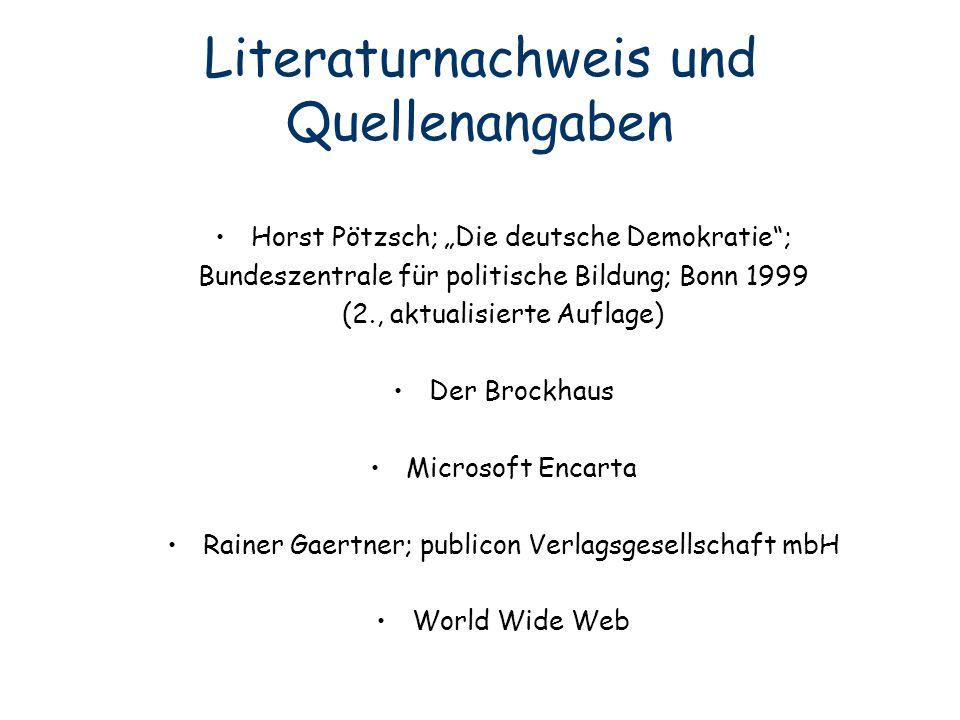 Literaturnachweis und Quellenangaben
