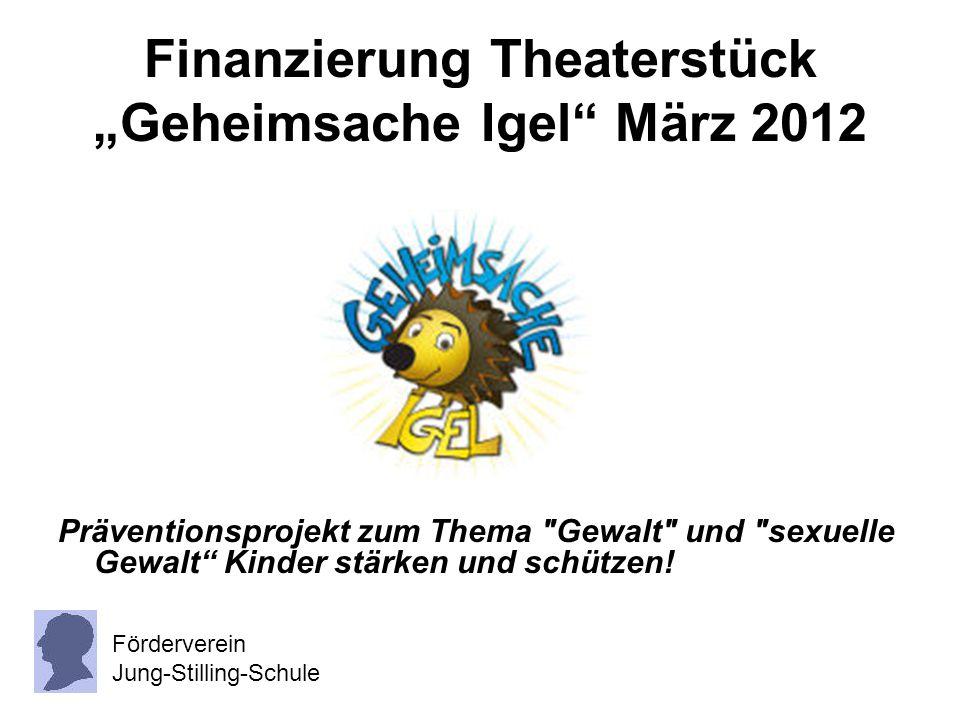 """Finanzierung Theaterstück """"Geheimsache Igel März 2012"""