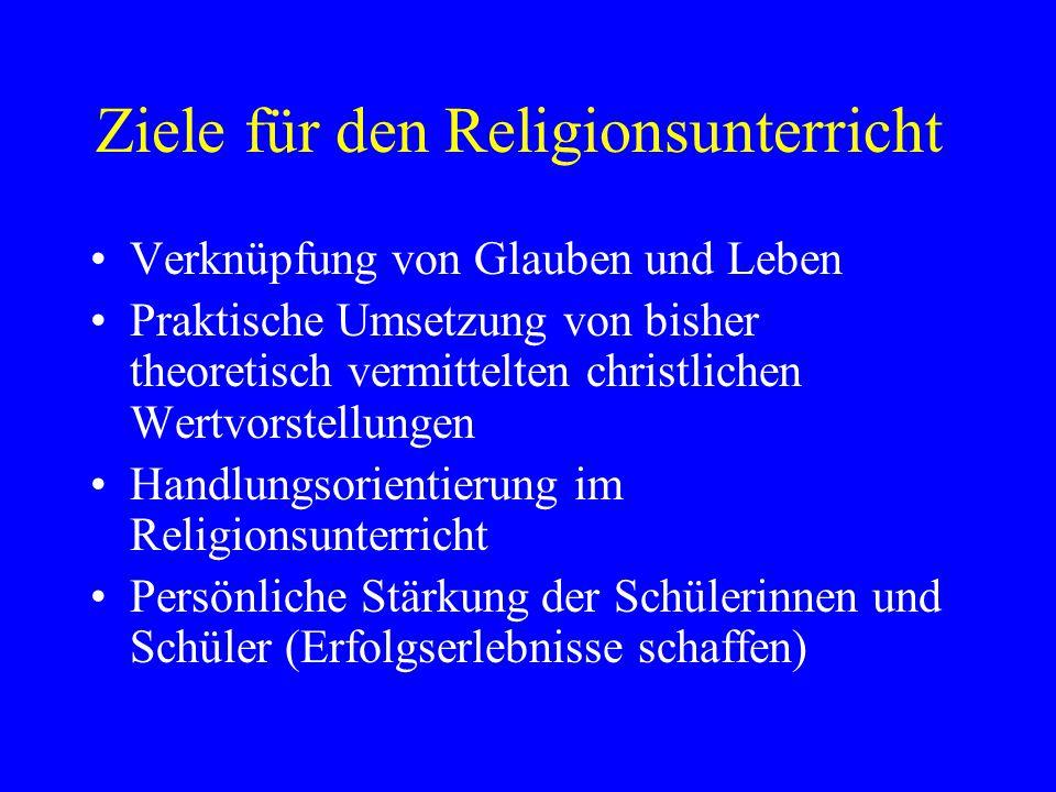 Ziele für den Religionsunterricht