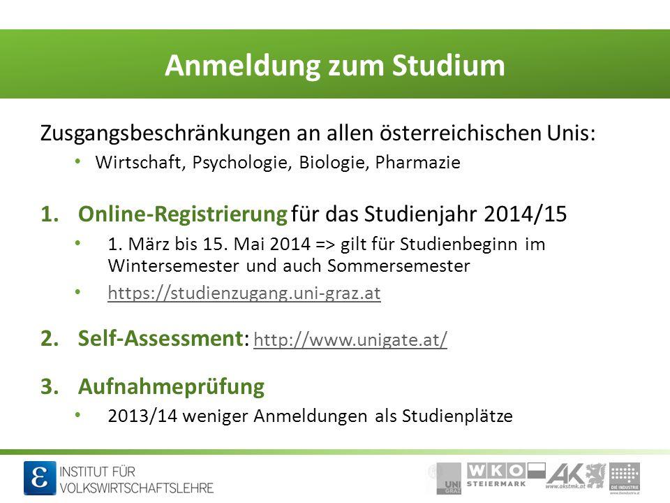 Anmeldung zum Studium Zusgangsbeschränkungen an allen österreichischen Unis: Wirtschaft, Psychologie, Biologie, Pharmazie.