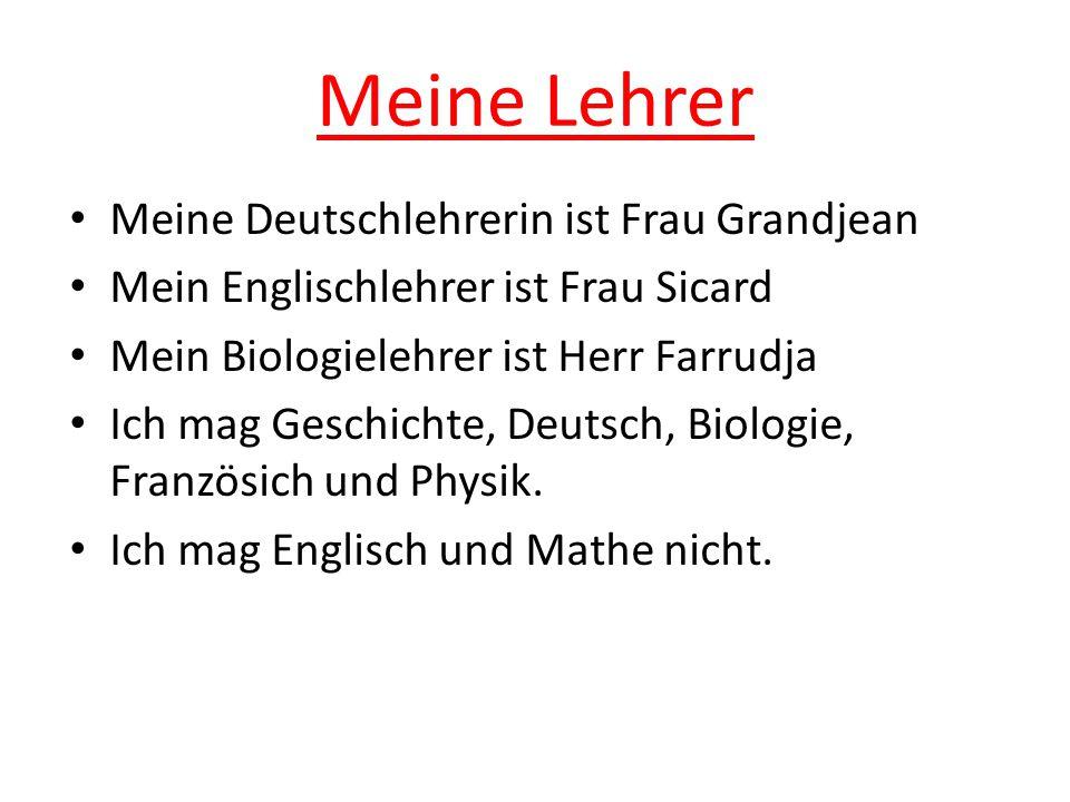 Meine Lehrer Meine Deutschlehrerin ist Frau Grandjean
