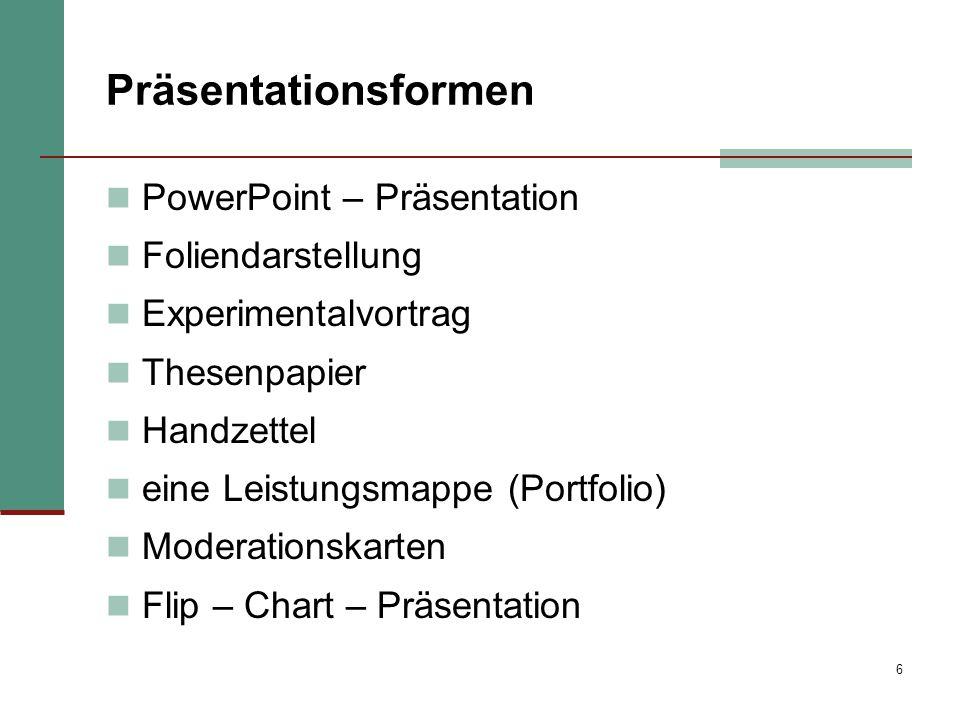 Präsentationsformen PowerPoint – Präsentation Foliendarstellung