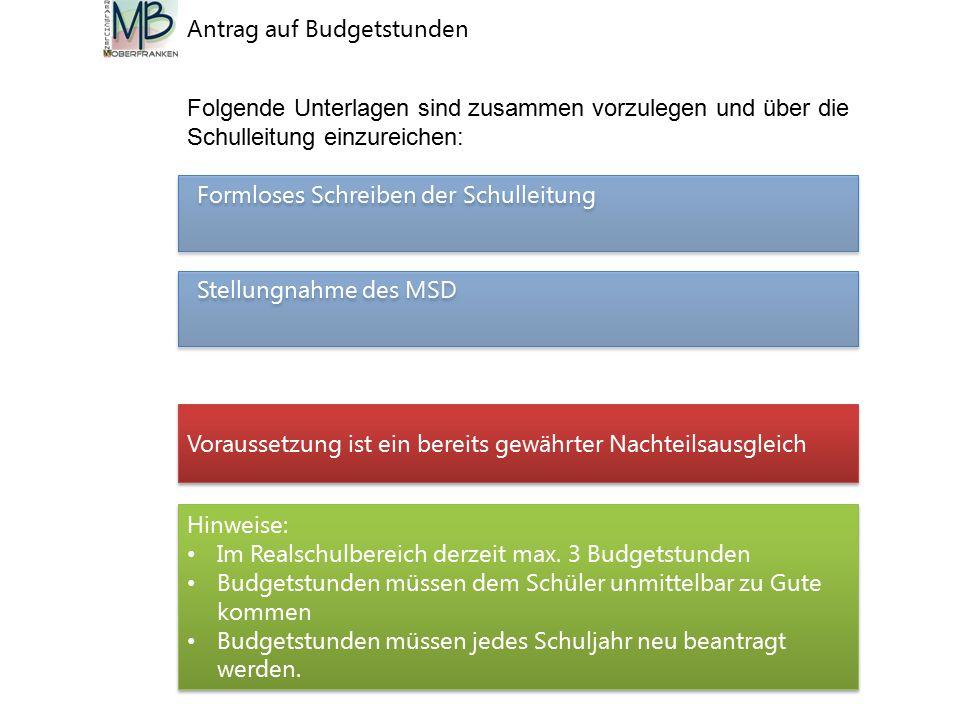 Antrag auf Budgetstunden