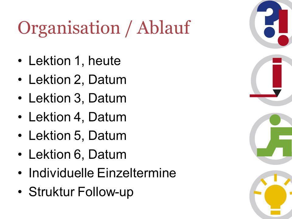 Organisation / Ablauf Lektion 1, heute Lektion 2, Datum
