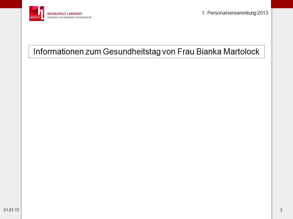 Informationen zum Gesundheitstag von Frau Bianka Martolock