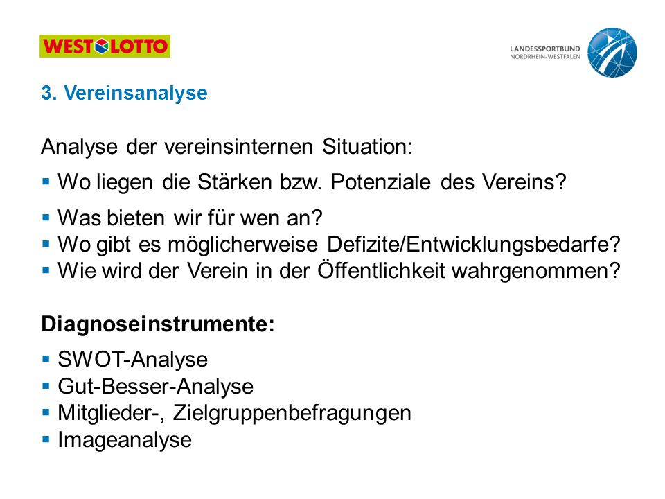 Analyse der vereinsinternen Situation: