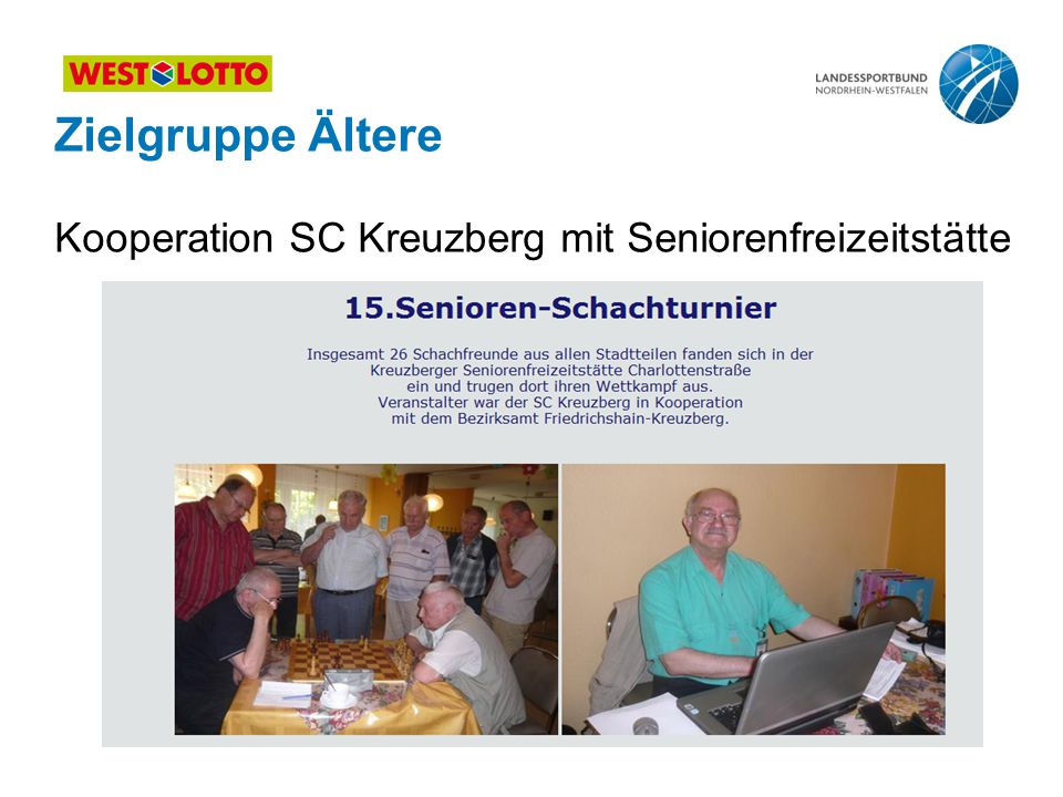 Zielgruppe Ältere Kooperation SC Kreuzberg mit Seniorenfreizeitstätte