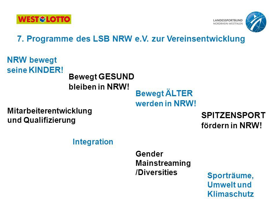 7. Programme des LSB NRW e.V. zur Vereinsentwicklung