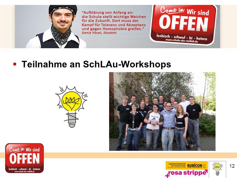 Teilnahme an SchLAu-Workshops