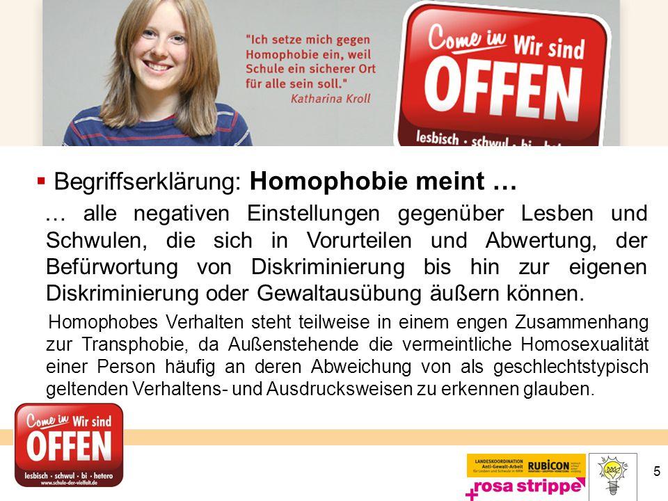 Begriffserklärung: Homophobie meint …