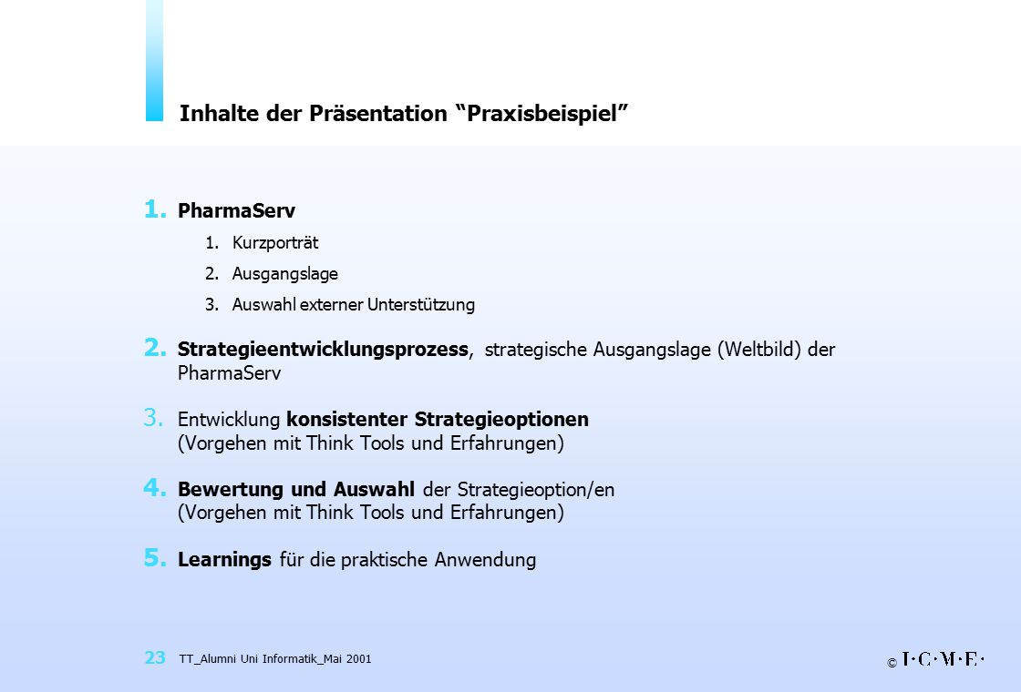 Inhalte der Präsentation Praxisbeispiel