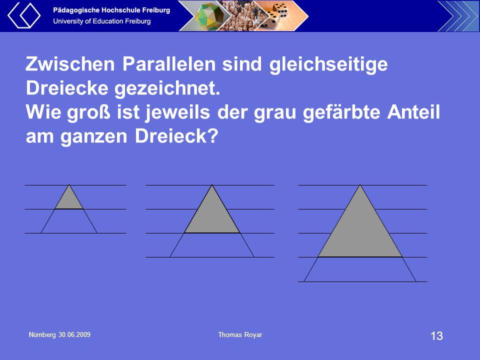Zwischen Parallelen sind gleichseitige Dreiecke gezeichnet