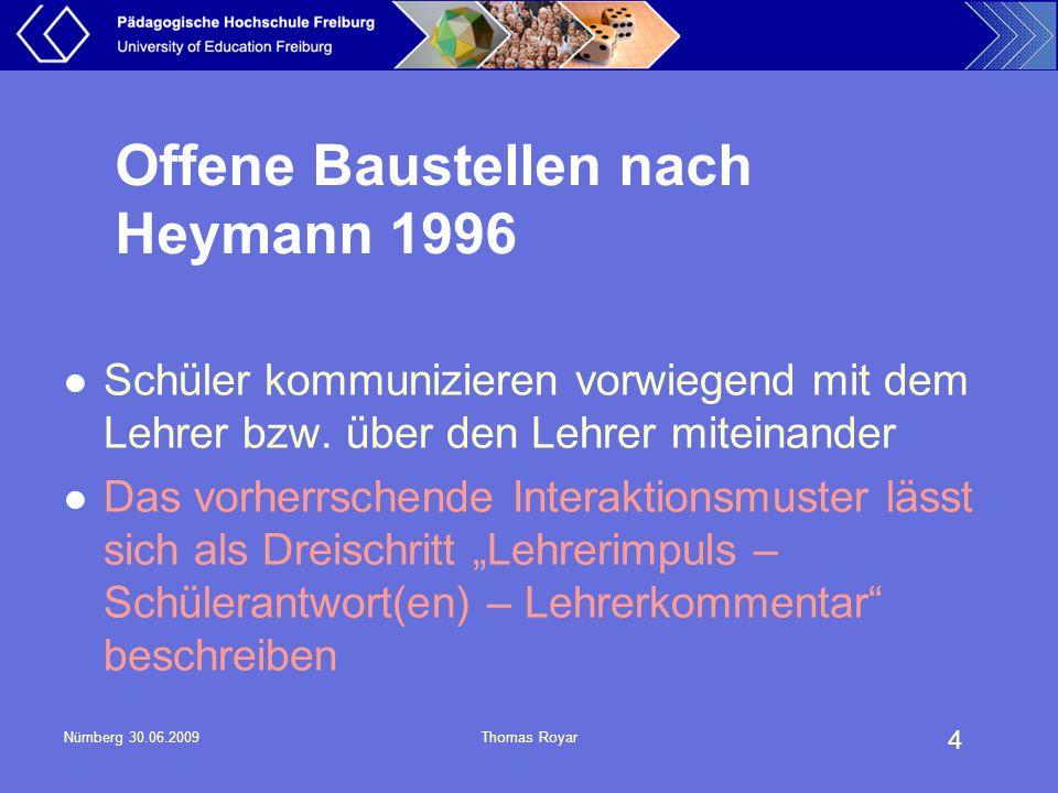 Offene Baustellen nach Heymann 1996