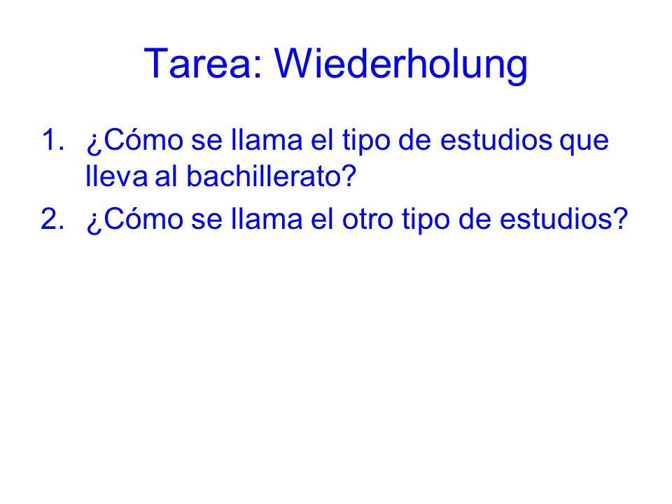 Tarea: Wiederholung ¿Cómo se llama el tipo de estudios que lleva al bachillerato.