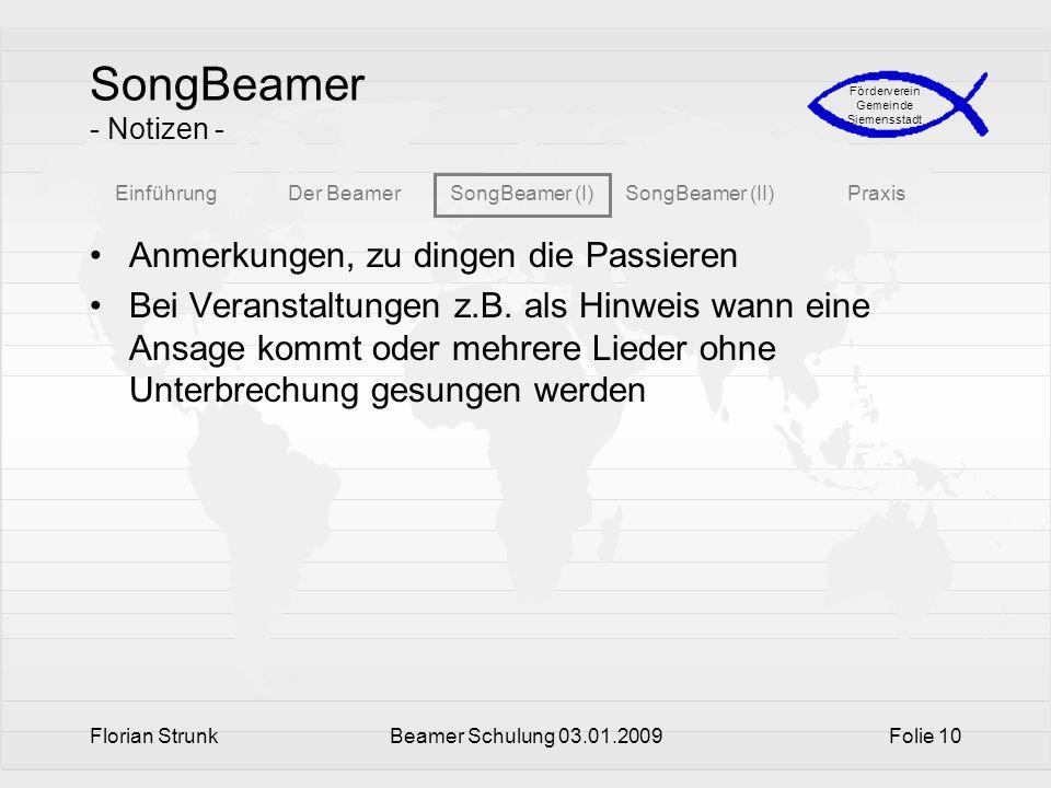 SongBeamer - Notizen - Anmerkungen, zu dingen die Passieren