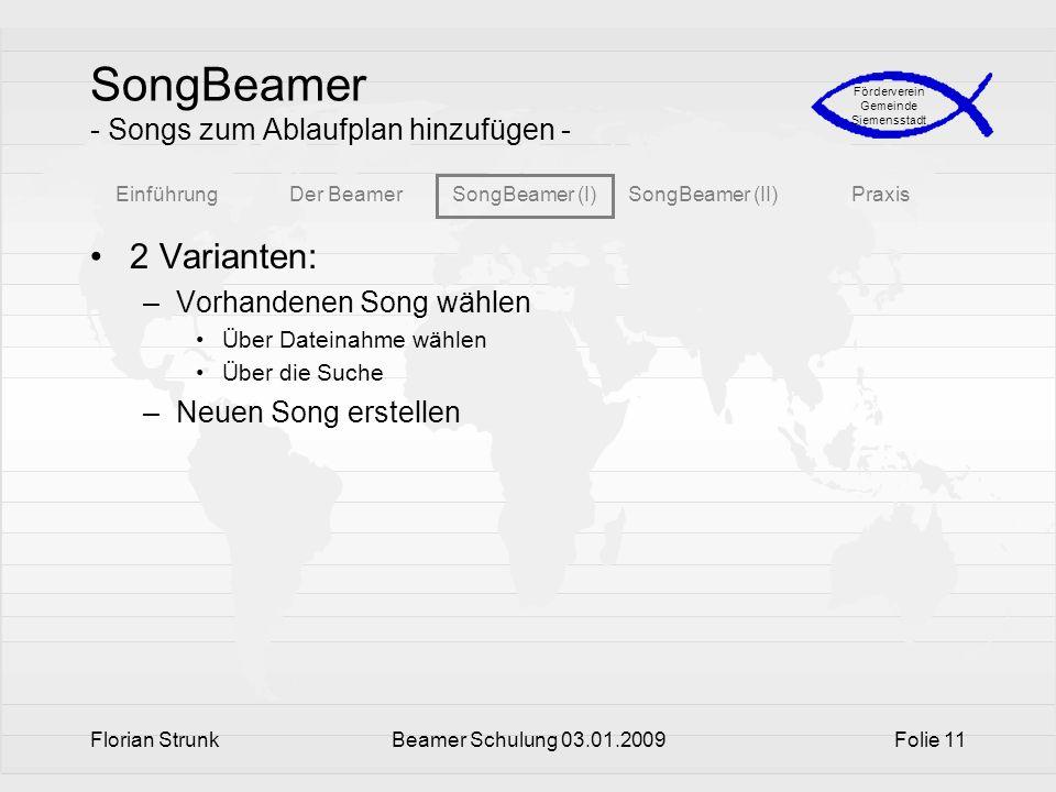 SongBeamer - Songs zum Ablaufplan hinzufügen -