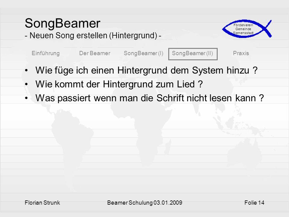SongBeamer - Neuen Song erstellen (Hintergrund) -