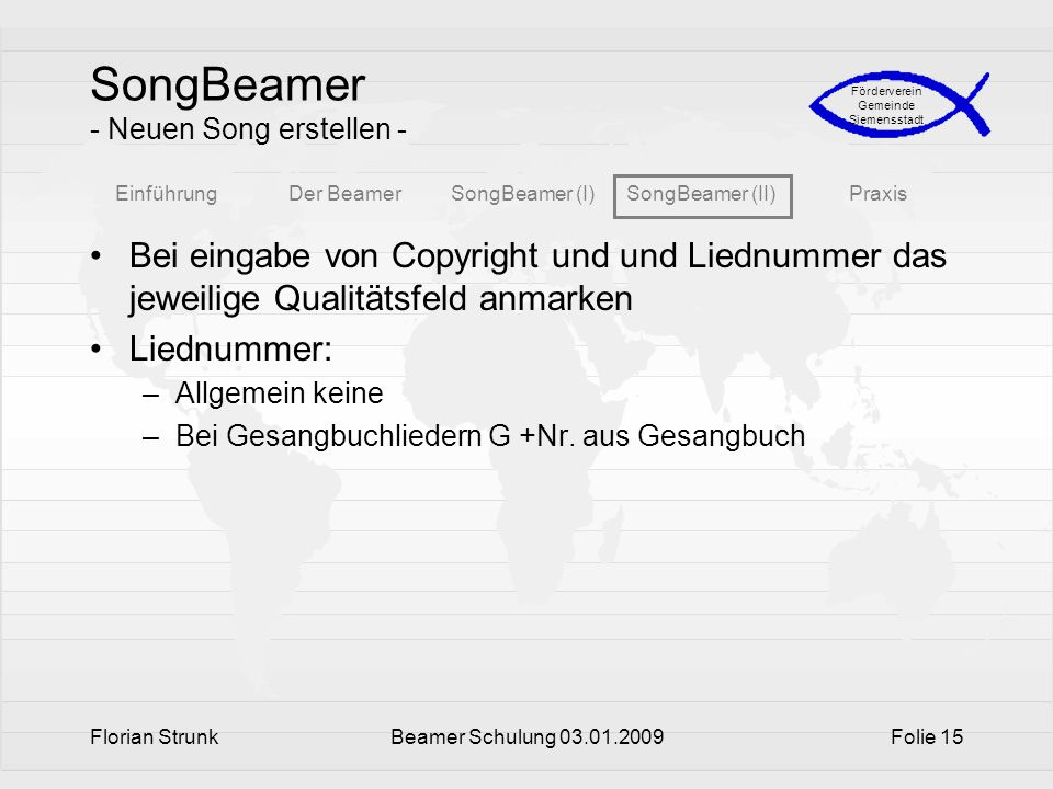 SongBeamer - Neuen Song erstellen -