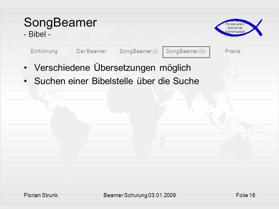 SongBeamer - Bibel - Verschiedene Übersetzungen möglich